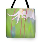 White Fawn Lilies In The Rain Tote Bag