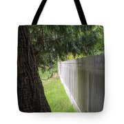 White Fence And Tree Tote Bag by Tom Singleton