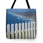 White Fence And Waves Tote Bag