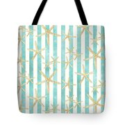 White Finger Starfish Watercolor Stripe Pattern Tote Bag