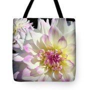 White Floral Art Bright Dahlia Flowers Baslee Troutman Tote Bag
