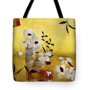 White Floral Collage II Tote Bag