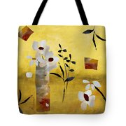 White Floral Collage Tote Bag