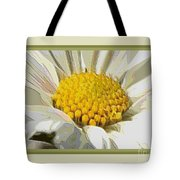 White Flower Abstract With Border Tote Bag