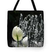 White Flower At Fountain Tote Bag