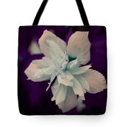White Flower W/purple Background Tote Bag