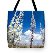 White Flowering Sea Squill On A Blue Sky Tote Bag
