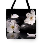 White Flowers Black Stones Tote Bag