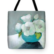 White Flowers In Blue Vase Tote Bag