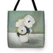White Flowers In Vase Tote Bag