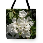 White Flowers On Green Leaves Tote Bag