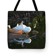 White Geese In A Park With Water Reflection Tote Bag
