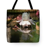 White Giant Water Lily Tote Bag