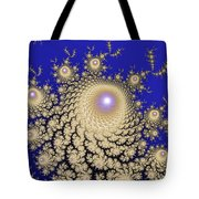 White Gold Opalescent Fractal Swirl Abstraction Tote Bag