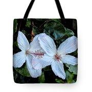White Hibicus Tote Bag
