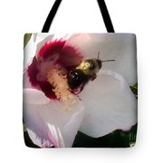 White Hibiscus Bloom With Bumble Bee Tote Bag
