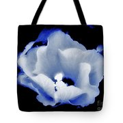 White Hibiscus On Black Background Tote Bag