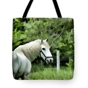 White Horse In A Green Pasture Tote Bag