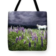 White Horse In A Lupine Storm Tote Bag