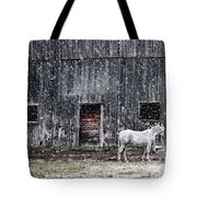 White Horse In A Snowstorm  Tote Bag