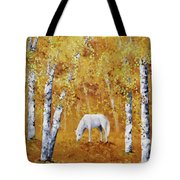 White Horse In Golden Woods Tote Bag