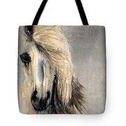 White Horse On Silver Leaf Tote Bag