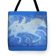 White Horse With Rabbits Tote Bag