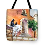 White Horses By The Cathedral In Palma De Mallorca 02 Tote Bag