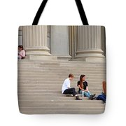 Hanging Out On Steps Tote Bag