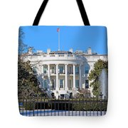 White House South Lawn With Snow Tote Bag