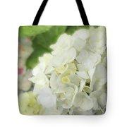 White Hydrangea At Rainy Garden In June, Japan Tote Bag