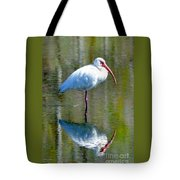 White Ibis And Reflection Tote Bag