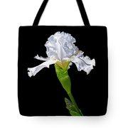 White Iris On Black Background Tote Bag