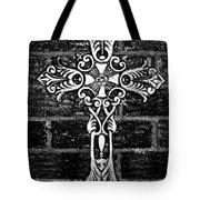 White Iron Cross Bw Tote Bag