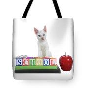 White Kitten Back To School Tote Bag
