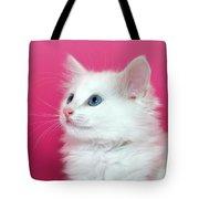 White Kitten On Pink Tote Bag