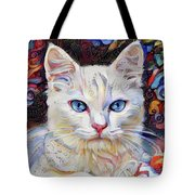 White Kitten With Blue Eyes Tote Bag