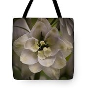 White Larkspur Close Up By Jean Noren Tote Bag