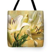 White Lilies On Amber Tote Bag