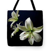 White Lilies On Blue Tote Bag