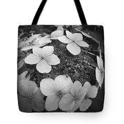 White On Black Hydrangea Petals Tote Bag