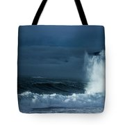 White On Blue Explosion Tote Bag