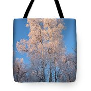 White On Blue Tote Bag