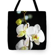White Orchid On Black Bw Tote Bag