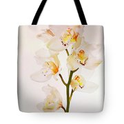 White Orchids Faux Watercolor Tote Bag