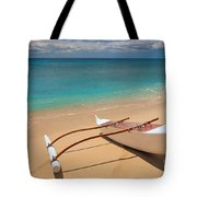 White Outrigger Canoe Tote Bag