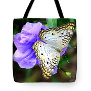 White Peacock Butterfly On Purple 2 Tote Bag