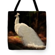 White Peacock In Golden Hour Tote Bag
