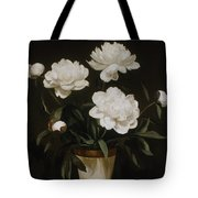 White Peonies In Cone-shaped Vase Tote Bag