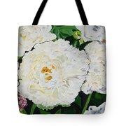 White Peony Garden Tote Bag